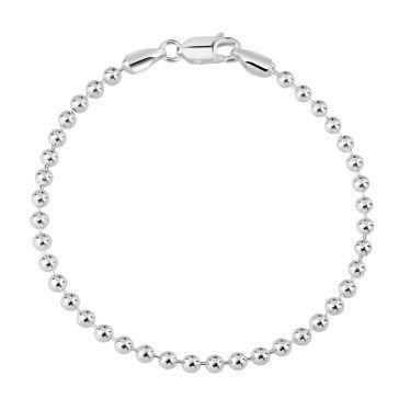 Sterling Silver 3mm Ball Bead Link Bracelet