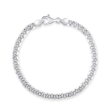 Sterling Silver 4.6mm Greek Box Pave Bracelet