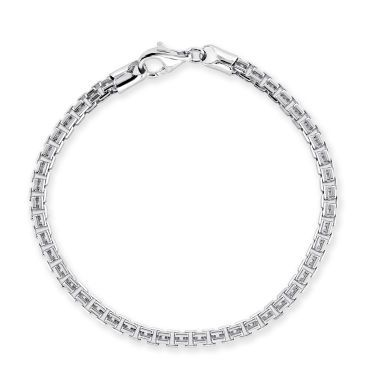 Sterling Silver 4mm Double Box Bracelet Diamond Cut