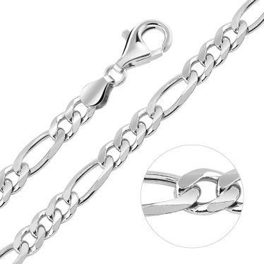 Sterling Silver 5.7mm Diamond Cut Figaro Chain Necklace