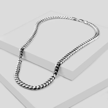 Sterling Silver 7mm Diamond Cut Cuban Chain Necklace