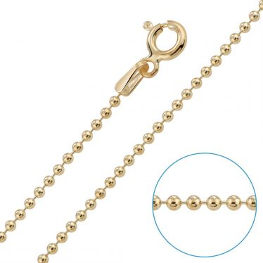 Children's 9ct Yellow Gold plated 1.5mm Ball Bead Chain 14