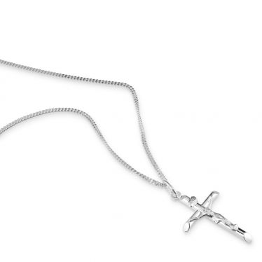 Sterling Silver Medium Cross Crucifix Necklace with Curb Chain