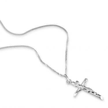 Sterling Silver Small Cross Crucifix Necklace with Curb Chain