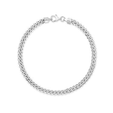 Sterling Silver 4.9mm Diamond Cut Cuban Bracelet