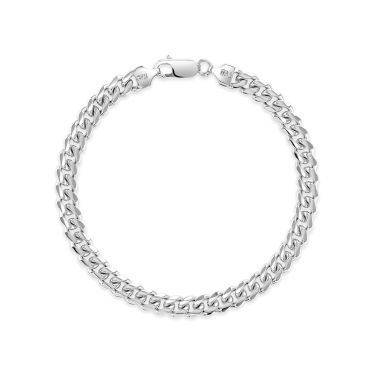 Sterling Silver 6.3mm Diamond Cut Cuban Bracelet