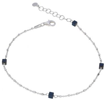 Sterling Silver Cube Bead Cylinder Extendable Trace Bracelet 7.5 8 Inch
