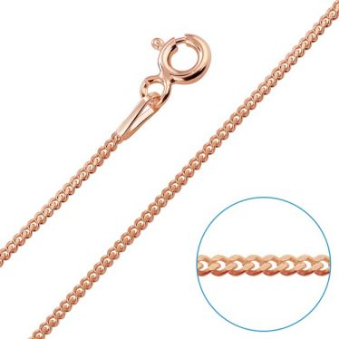 Children's 9ct Rose Gold Sterling Silver 1.2mm Curb chain