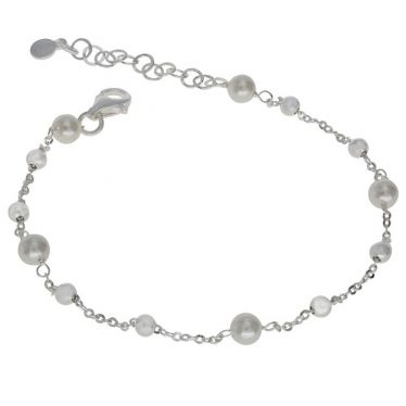 Sterling Silver Faux Pearl Beaded Charm Extendable Bracelet 7 7.5 8 Inch