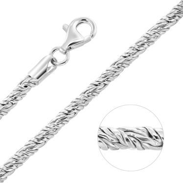 Sterling Silver 3mm Twisted Round Foxtail Chain Necklace