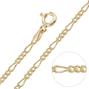 9ct Yellow Gold plated 2mm Diamond Cut Figaro Chain