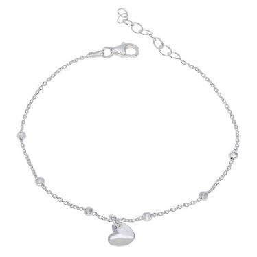 Sterling Silver Heart on Extendable Trace Link Bracelet