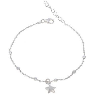 Sterling Silver Puffy Star Beaded Extendable Trace Bracelet 7 7.5 8 Inch