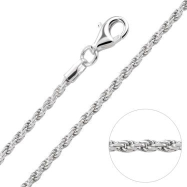 Sterling Silver 1.8mm Diamond Cut Rope Chain