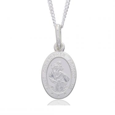 Sterling Silver St Christopher Necklace Oval 12mm Protect us message with Curb chain