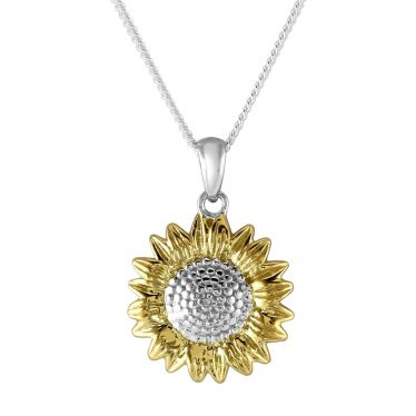 Sterling Silver Gold Plated SUNFLOWER Necklace with Curb Chain