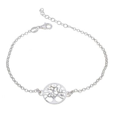 Sterling Silver Tree Of Life Extendable Belcher Bracelet 7 7.5 8 Inch