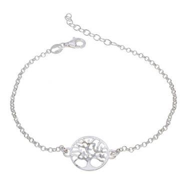 Sterling Silver Tree Of Life Extendable Belcher Bracelet 7 7.5 8 Inch