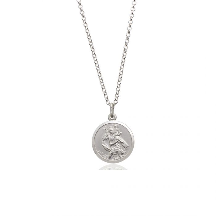 Sterling silver 18mm double sided st christopher pendant necklace sterling silver st christopher necklace belcher chain reverse image 18mm click to magnify aloadofball Image collections