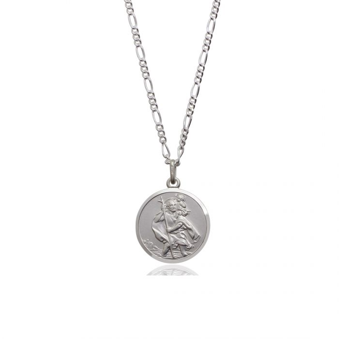 Sterling silver 20mm double sided st christopher pendant necklace sterling silver st christopher necklace figaro chain reverse image 20mm click to magnify aloadofball Gallery