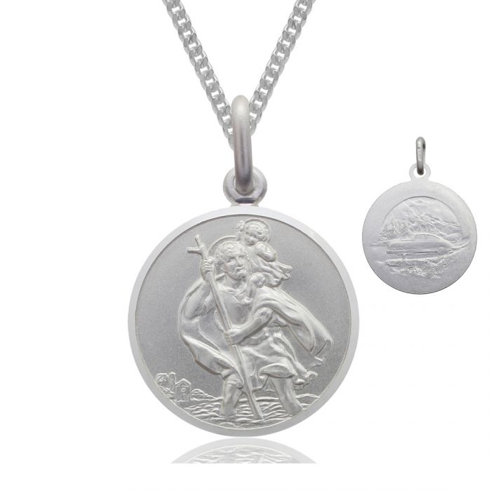 Sterling silver 16mm double sided st christopher pendant necklace sterling silver st christopher necklace 16mm bevelled edge double sided with curb chain aloadofball Image collections