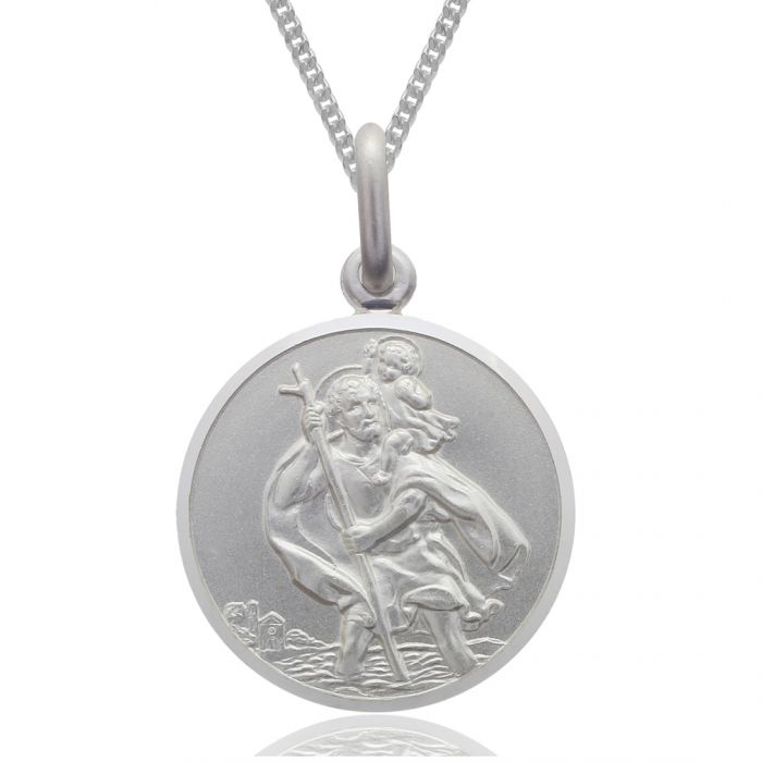 Sterling silver large 22mm st christopher pendant necklace with curb sterling silver st christopher necklace 22mm round bevelled edge with curb chain aloadofball Choice Image