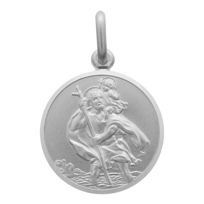 Sterling silver round st christopher pendant with beveled edge sterling silver st christopher pendant round with satin centre and polished bevelled edge mozeypictures Image collections