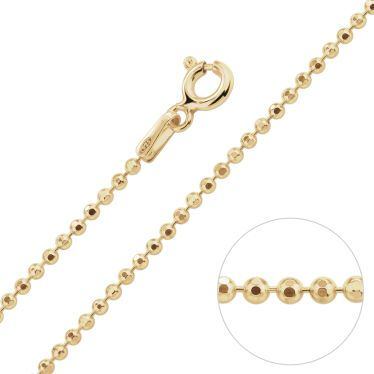 9ct Yellow Gold Plated 1.5mm Diamond Cut Ball Bead Chain Necklace