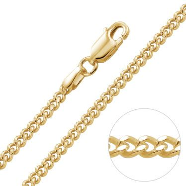 9ct Yellow Gold Plated 2.4mm Diamond Cut Curb Chain Necklace