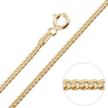 9ct Yellow Gold Plated 2mm Diamond Cut Curb Chain Necklace