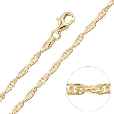 9ct Yellow Gold Plated 2mm Loose Rope Prince Of Wales Chain Necklace