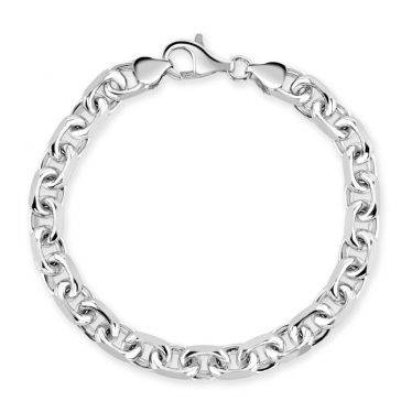 Sterling Silver 7mm Anchor Bracelet Diamond Cut