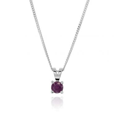 Sterling Silver July Ruby Birthstone Necklace with Curb Chain