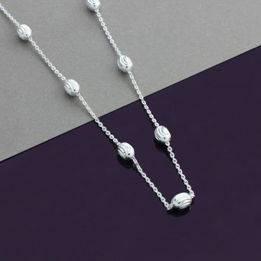 Sterling Silver Oval Beaded Diamond Cut Trace Chain Necklace