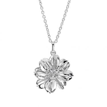 Sterling Silver OCTOBER MARIGOLD Necklace with Cable chain