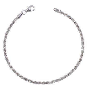 Sterling Silver 2.3mm diamond cut Rope link bracelet with lobster clasp - Click to magnify