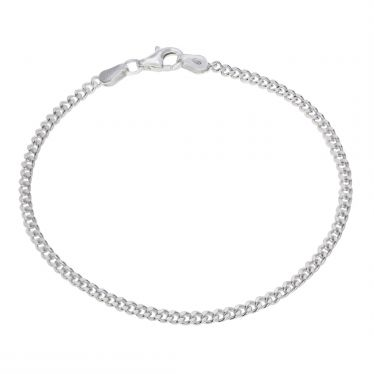 Sterling Silver 2.4mm diamond cut curb link bracelet with lobster clasp - Click to magnify