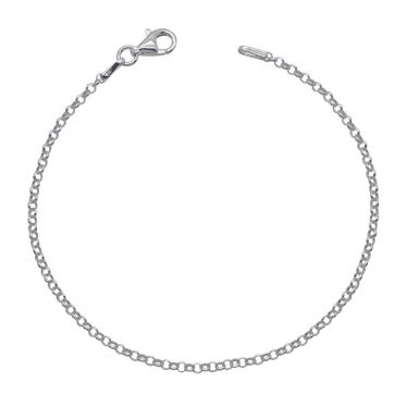 Sterling Silver 2mm Belcher link bracelet with lobster clasp - Click to magnify
