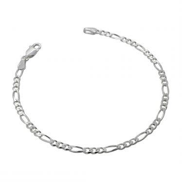 Sterling Silver 3mm diamond cut Figaro link bracelet with lobster clasp - Click to magnify