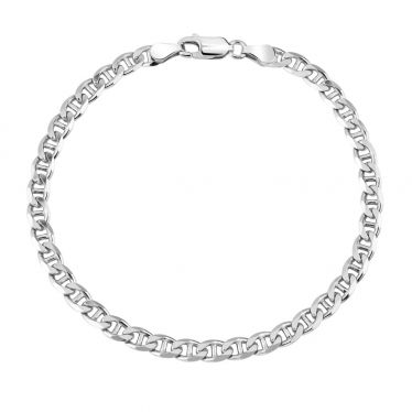 Sterling Silver 4.6mm Diamond Cut Marina Link Bracelet