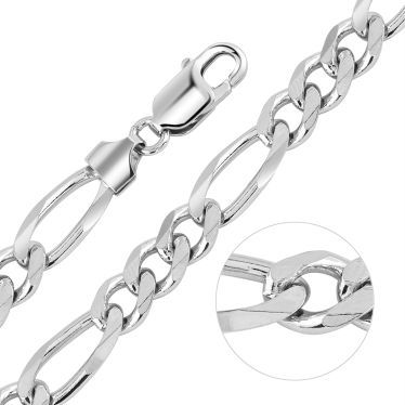 Sterling Silver 7.6mm Diamond Cut Figaro Chain Necklace Heavy