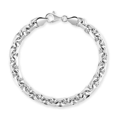 Sterling Silver 6.3mm Anchor Bracelet Diamond Cut