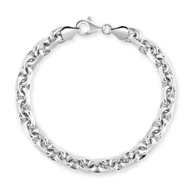 Sterling Silver 6.3mm Anchor Bracelet Diamond Cut