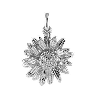 Sterling Silver Aster September Flower Pendant