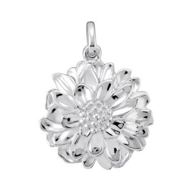 Sterling Silver Chrysanthemum November Flower Pendant