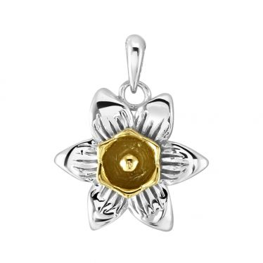 Sterling Silver Daffodil March Flower Pendant with 9ct Gold plate
