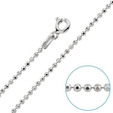 Children's Sterling Silver 1.5mm Ball Bead Chain 16