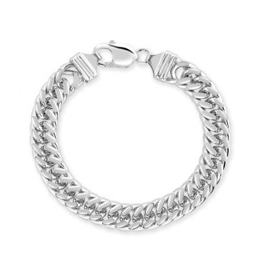 Sterling Silver 10.6mm Double Curb Bracelet Diamond Cut