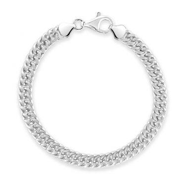 Sterling Silver 6.7mm Double Curb Bracelet Diamond Cut