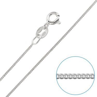 Children's Sterling Silver 0.8mm Fine Curb Chain 16